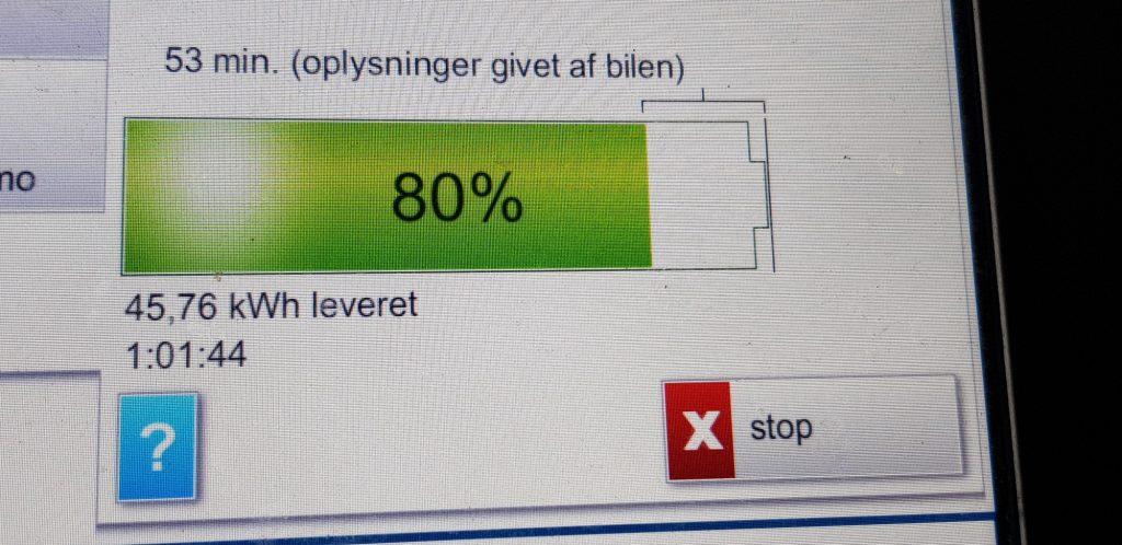 I København ladede jeg på Clever fra 15 til 80% på 61 min.
