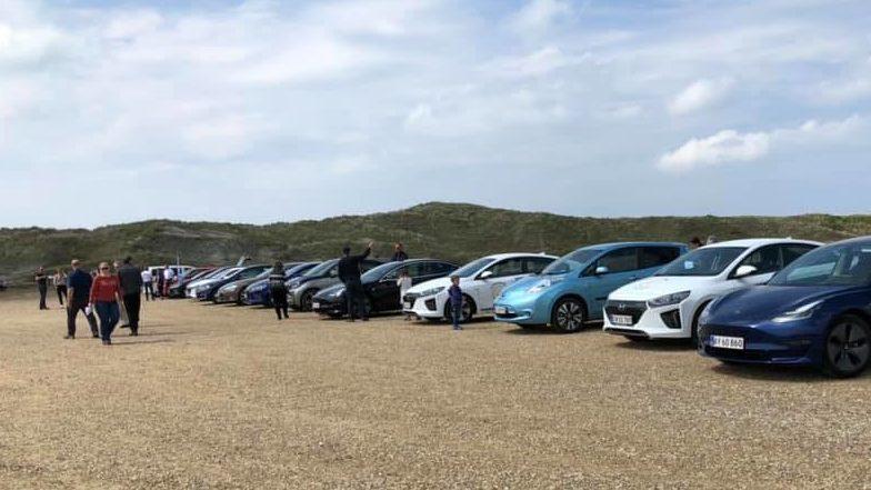 Diverse elbilmodeller ved Rigkøbing Fjord 2019